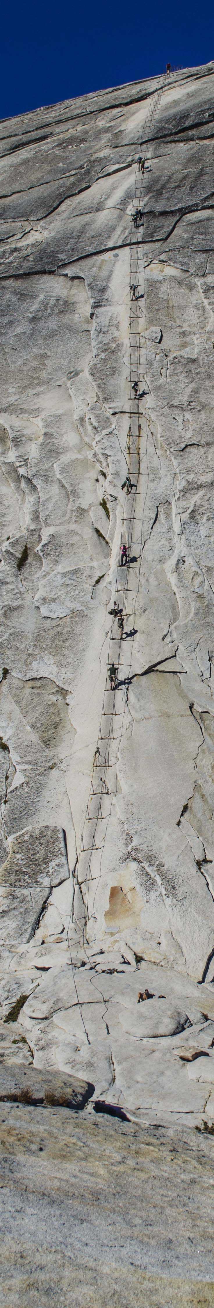 Hikers on the Half Dome cables.