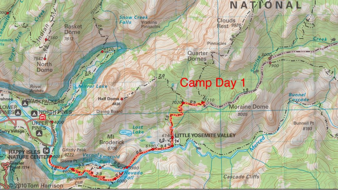John Muir Trail day 1 map