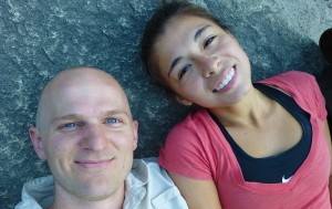 Lupita and I taking a break at the base of Vernal Falls
