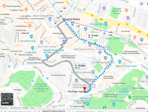 Google Map — Central to The Peak Tram (Victoria Peak Hike — The Classic View of Hong Kong)