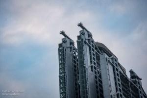 HSBC Feng Shui cannons (Dragon Holes of Hong Kong)