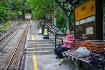 Tram stop on the way to Victoria Peak