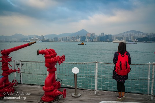 On the Alexander Grantham Fireboat - Hong Kong Skyline