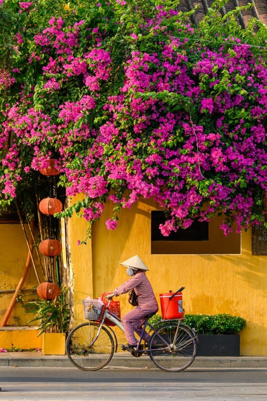 Thuý, 53, rides her bicycle through Hoi An Old Town