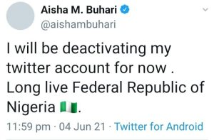 Hours After FG Suspends Twitter Aisha Buhari Deactivates Account, Hours After FG Suspends Twitter, Aisha Buhari Deactivates Account, 360okay