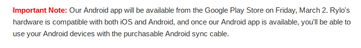 Rylo Android version release date
