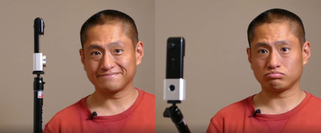 Keep the selfie stick in line with the camera (left). Do not tilt the camera toward the selfie stick (right)