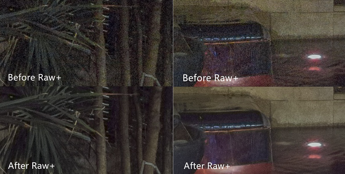 Noise reduction from image stacking with Raw+
