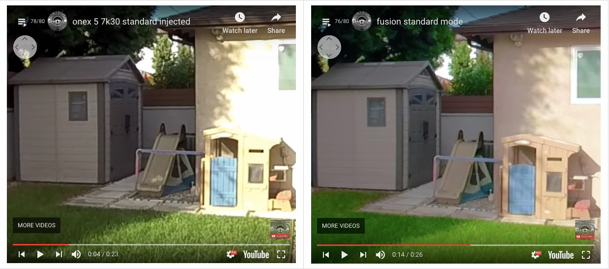 Insta360 One X 5.7K video vs Fusion video