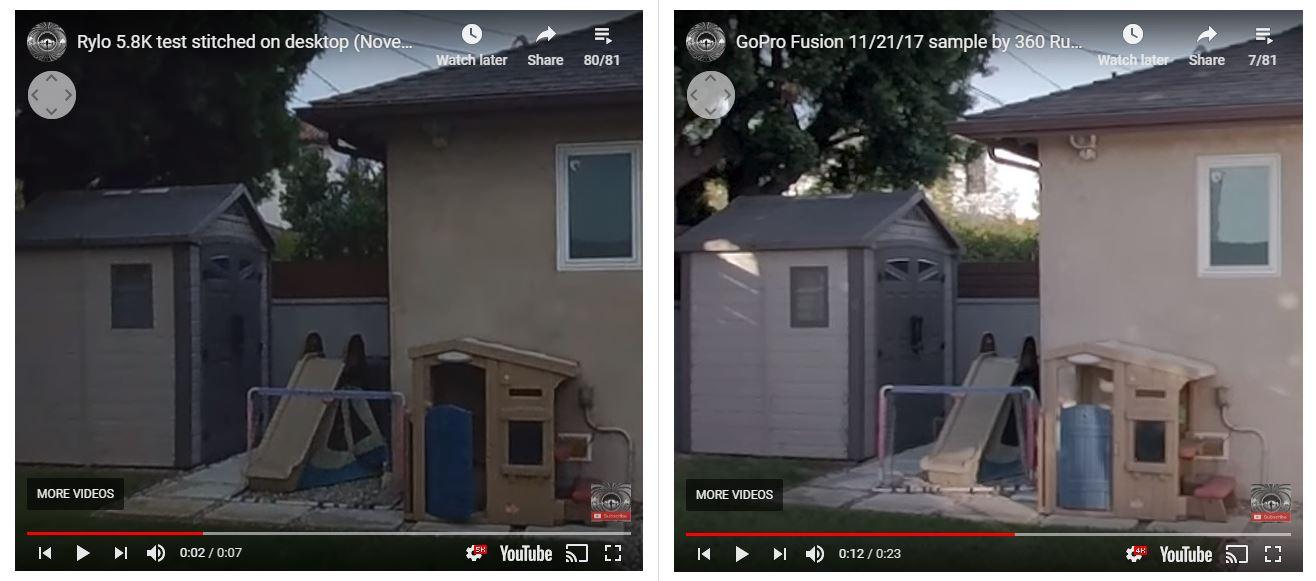 Rylo 5.8K (left) vs. GoPro Fusion (right)