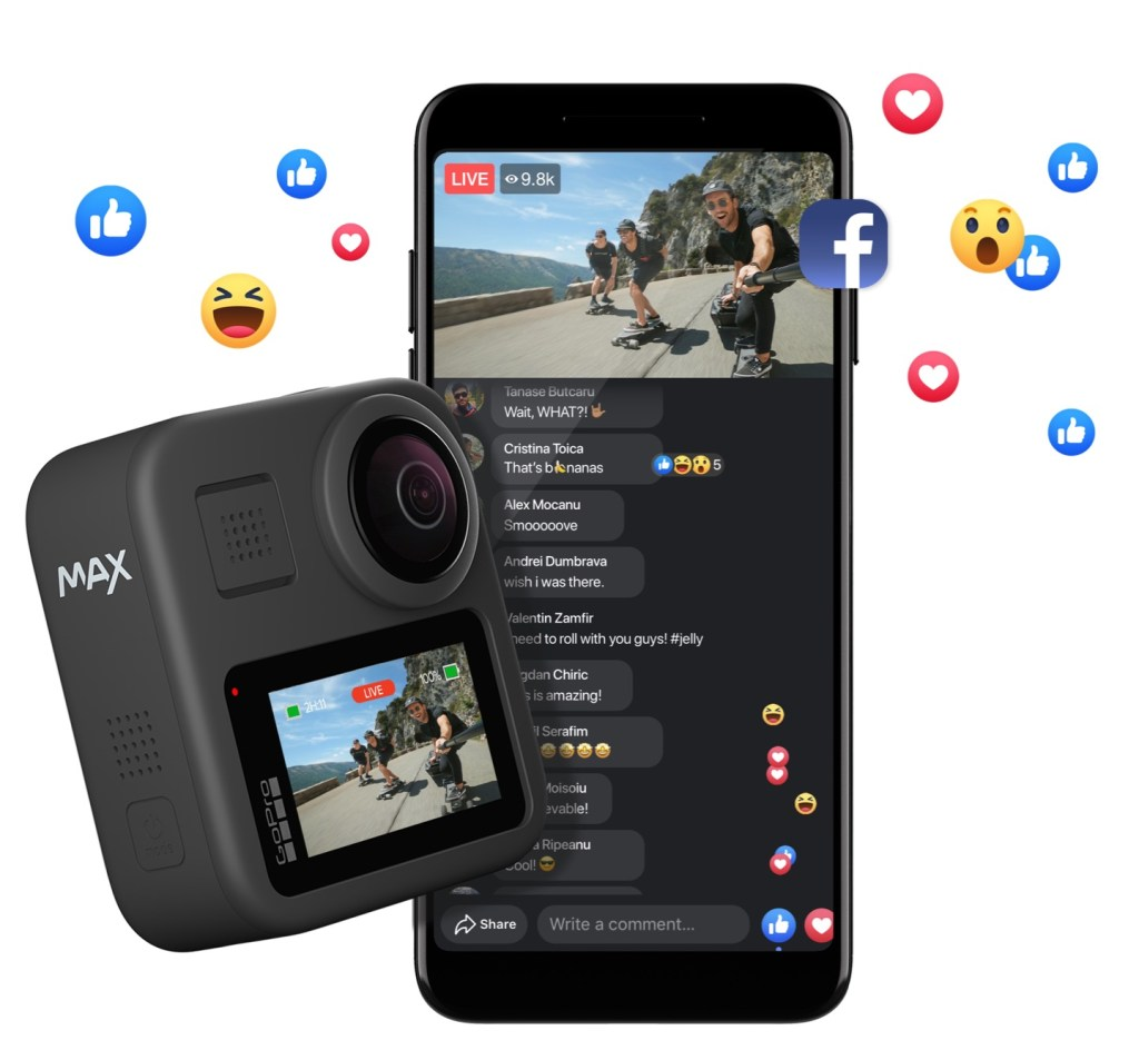 GoPro Max livestreaming with stabilization