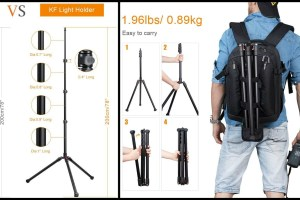 K&F Concept light stand is a tall and compact stand for 360 cameras