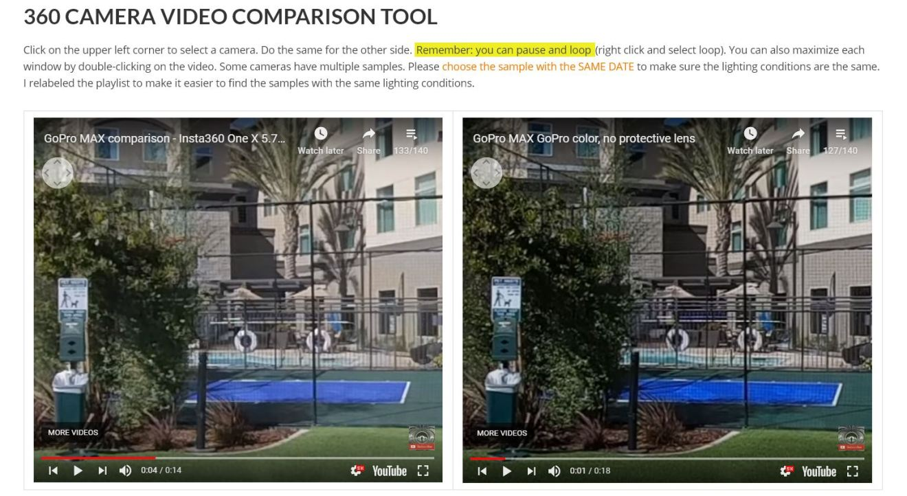 Insta360 One X 5.7K 30fps (left) vs GoPro MAX - GoPro color (right)