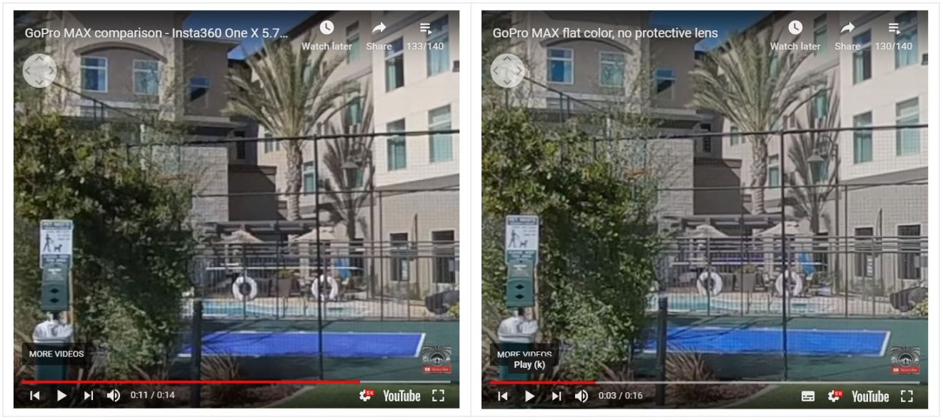 Insta360 One X standard mode (left) vs GoPro MAX flat mode (right)