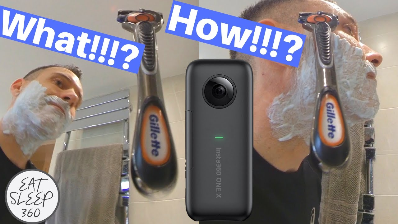 Shaving with a floating razor (360 camera technique)
