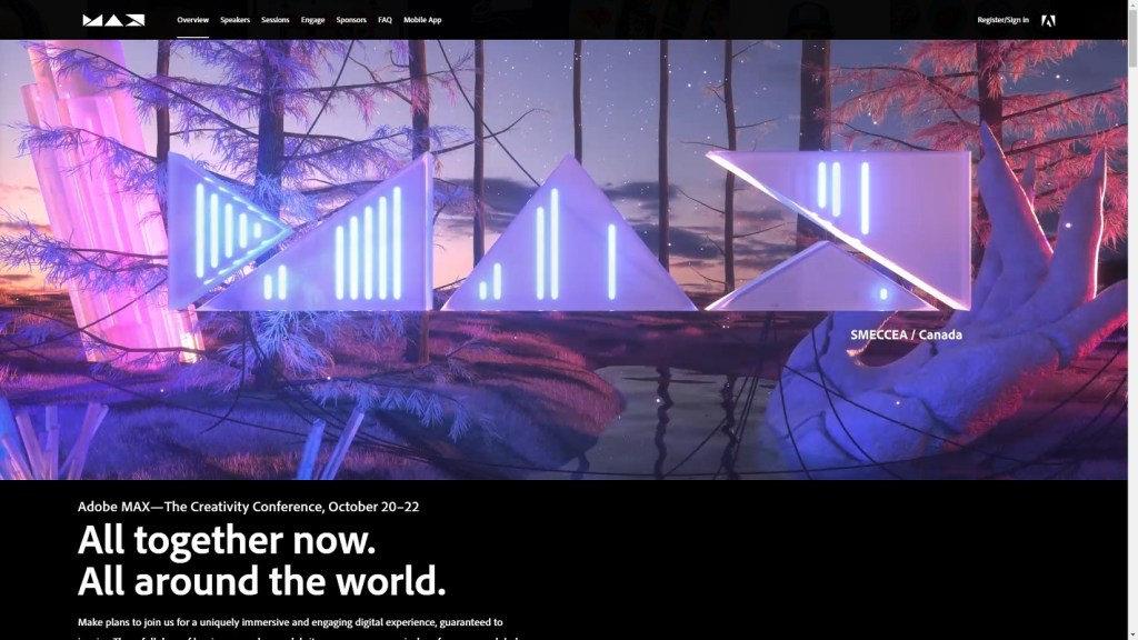 Register for Adobe MAX 2020 for free