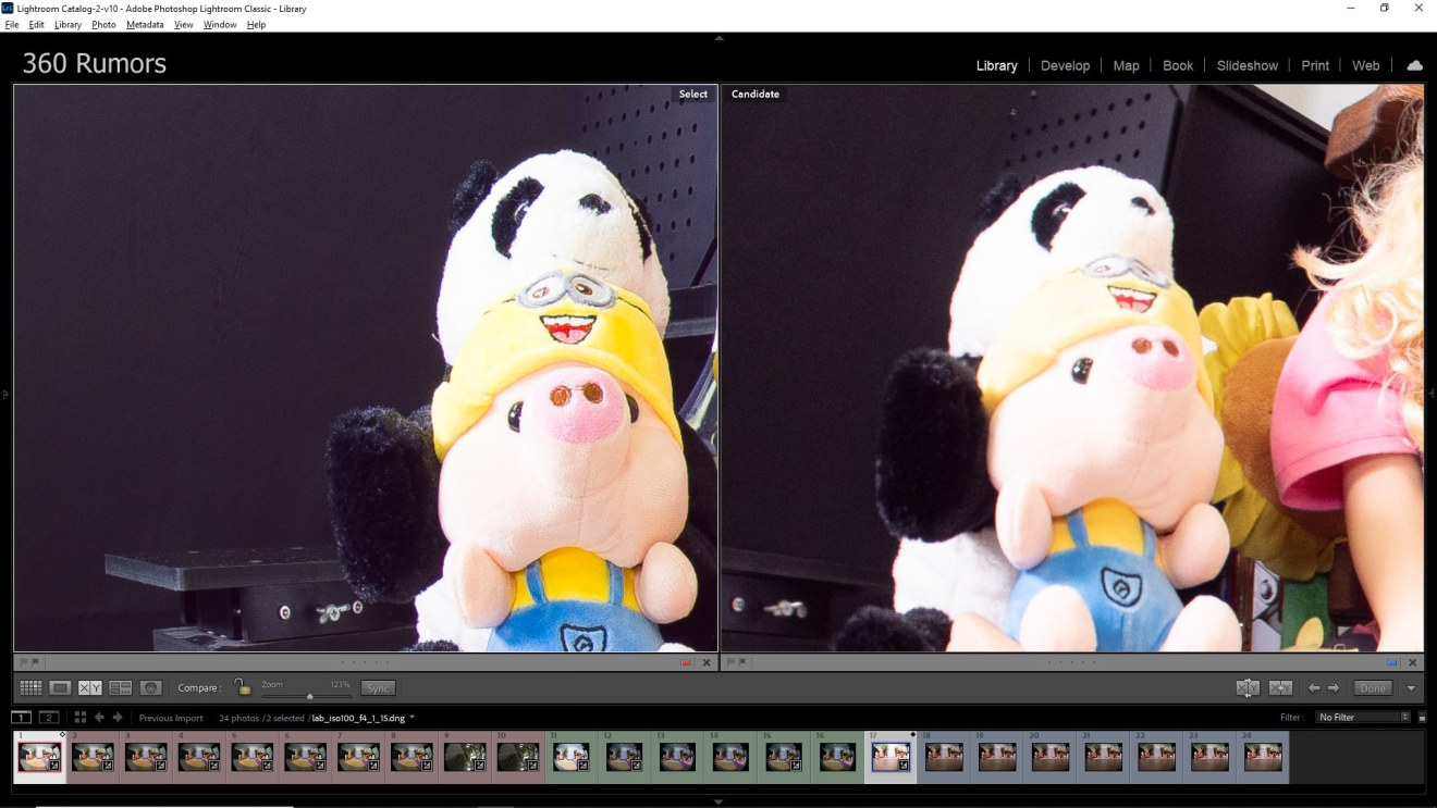 Left: Obsidian Pro has no noticeable fringing.  Right: GH5 with Samyang has some red fringing on the Panda.  Both images pushed +2EV in post processing.