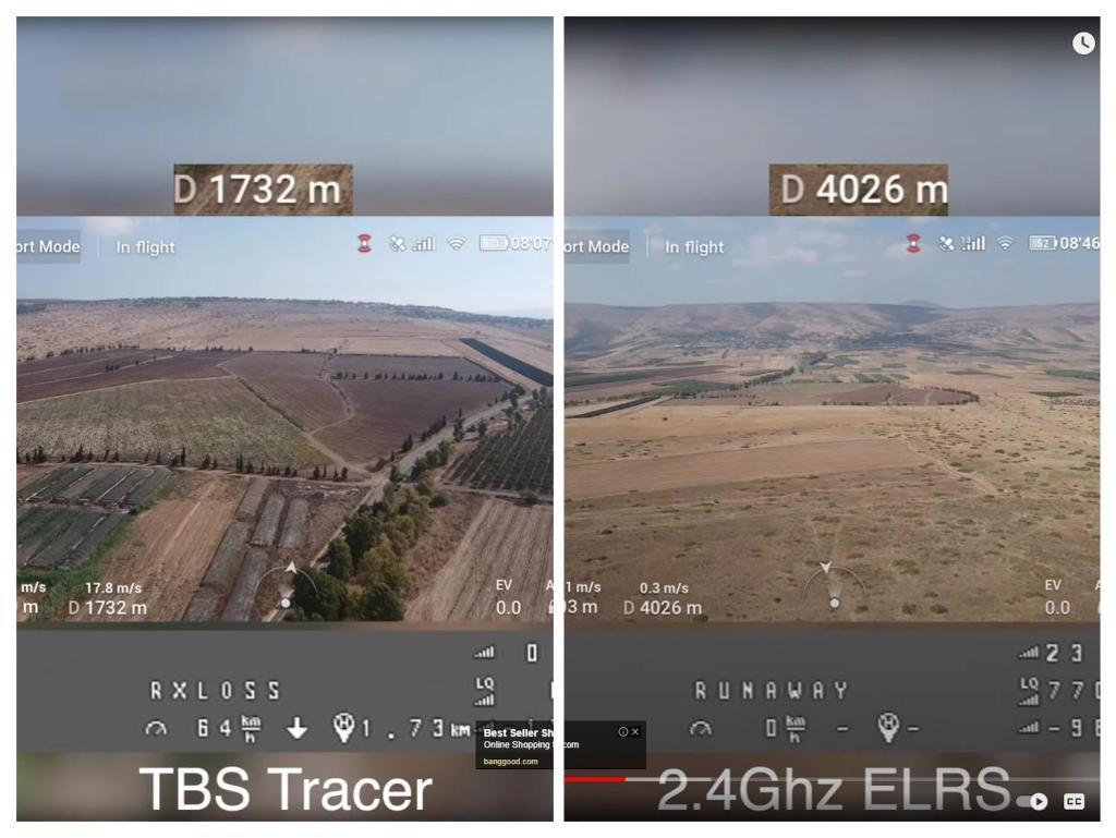 ExpressLRS vs TBS Crossfire. Left: TBS Crossfire failsafe at 1.7km at 25mw. ELRS 2.4 failsafe at 4km at 25mw.
