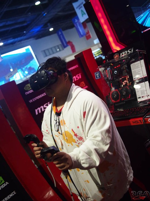 The Vive attracted its usual line of interested testers.