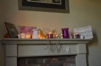 Affirmations I made and lots and lots of candles!