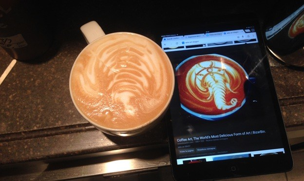 28.02.2015 Trying to make elephant in latteart :-D