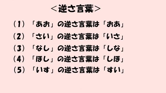 <逆さ言葉>(1)