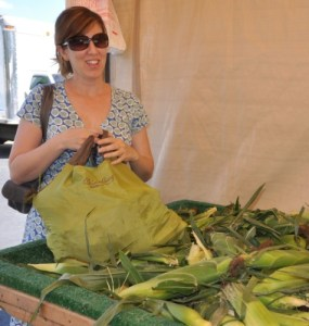 Selecting Sweet Corn at The Foley Farmstand