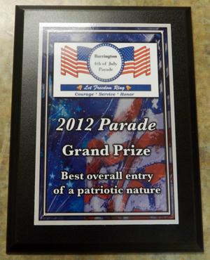 Grand Prize Plaque - Barrington Animal Hospital