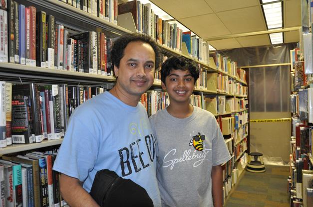 Pranav Sivakumar with his Dad at the Barrington Area Library