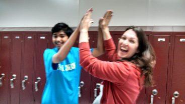 High Fives with Teachers - Courtesy of Pranav's Mom, Anu Sivakumar
