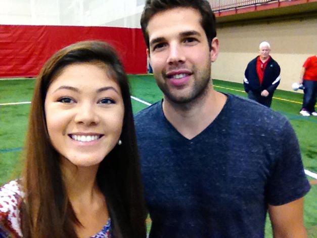 BHS-TV Reporter, Catherine Goetze with Chicago Blackhawks Goalie, Corey Crawford