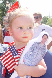 Evelyn Dowling with her Daddy Doll. Her father Austin Dowling is deployed in Afghanistan for a year - Sue Bullen