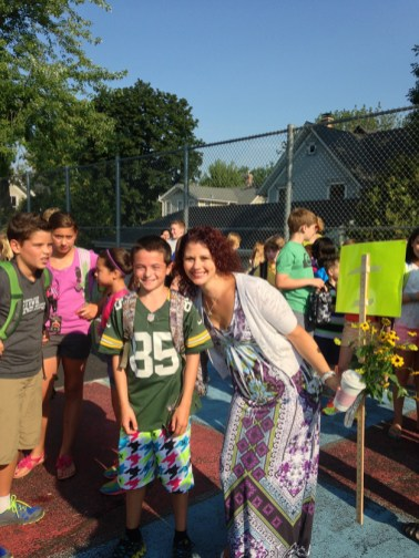 My son Keegan off to his last year at Hough with his teacher, Mrs. Lanan - Submitted by Paige