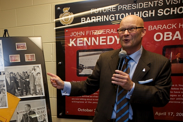Dr. Tom Leonard shows the newly unveiled photos - Photographed by Julie Linnekin