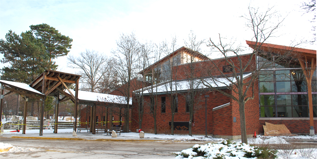 The exterior view of the Barrington Area Library building