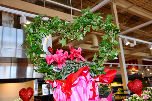 Ivy heart topiary over potted cyclamen at Heinen's Barrington