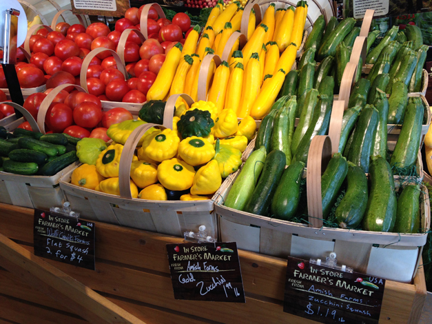 This week's in-store farmers' market selections at Heinen's included zucchini, squash, green beans and other veggies.