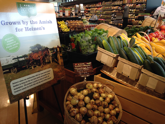 Always fresh produce right at the front entrance of Heinen's.