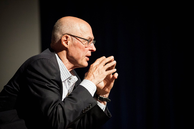 Former US Secretary of the Treasury, Hank Paulson, shares message at Barrington High School about leadership and lessons learning during the financial crisis - Photo by Liz Benedetto, Elizabeth Ashby, Inc.