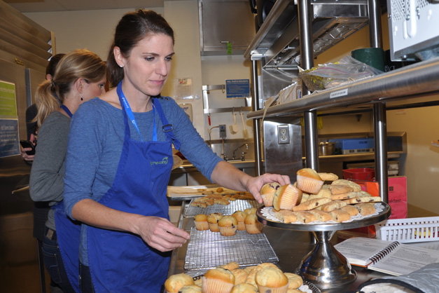 Jennifer Kainz and Julie Baily, baking Norwegian and Sugar Crackle cookies - Photo by Liz Luby