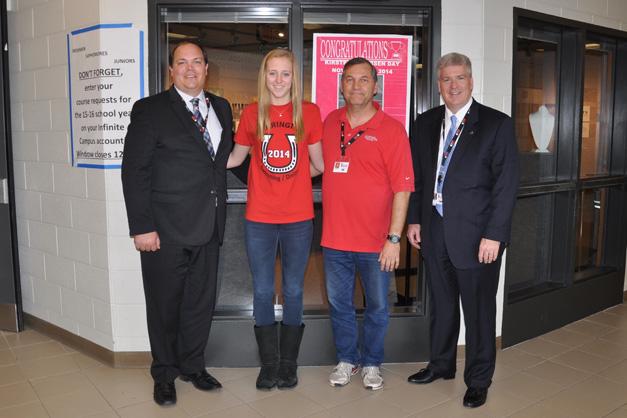 Kirsten Jacobsen with BHS Principal Steve McWilliams, Swim Coach Jim Bart and Barrington 220 Superintendent, Dr. Brian Harris