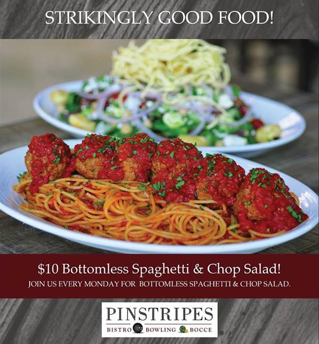 Post - Menu Monday - Pinstripes Bottomless Spaghetti and Chop Salad