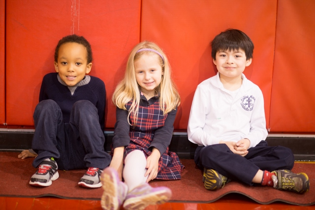 St. Anne students relax after running in Physical Education class - Photographed by Sally Roeckell