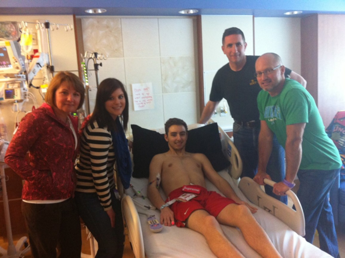Carter Strong's Carter Bailey in the Hospital with Family & Friends