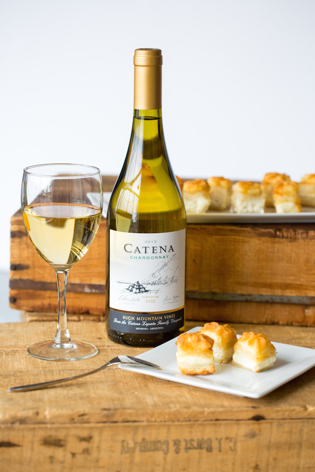 Wild Asparagus Cheese Puffs with Vin's Catena Mendoza Chardonnay - Photo by Sally Roeckell