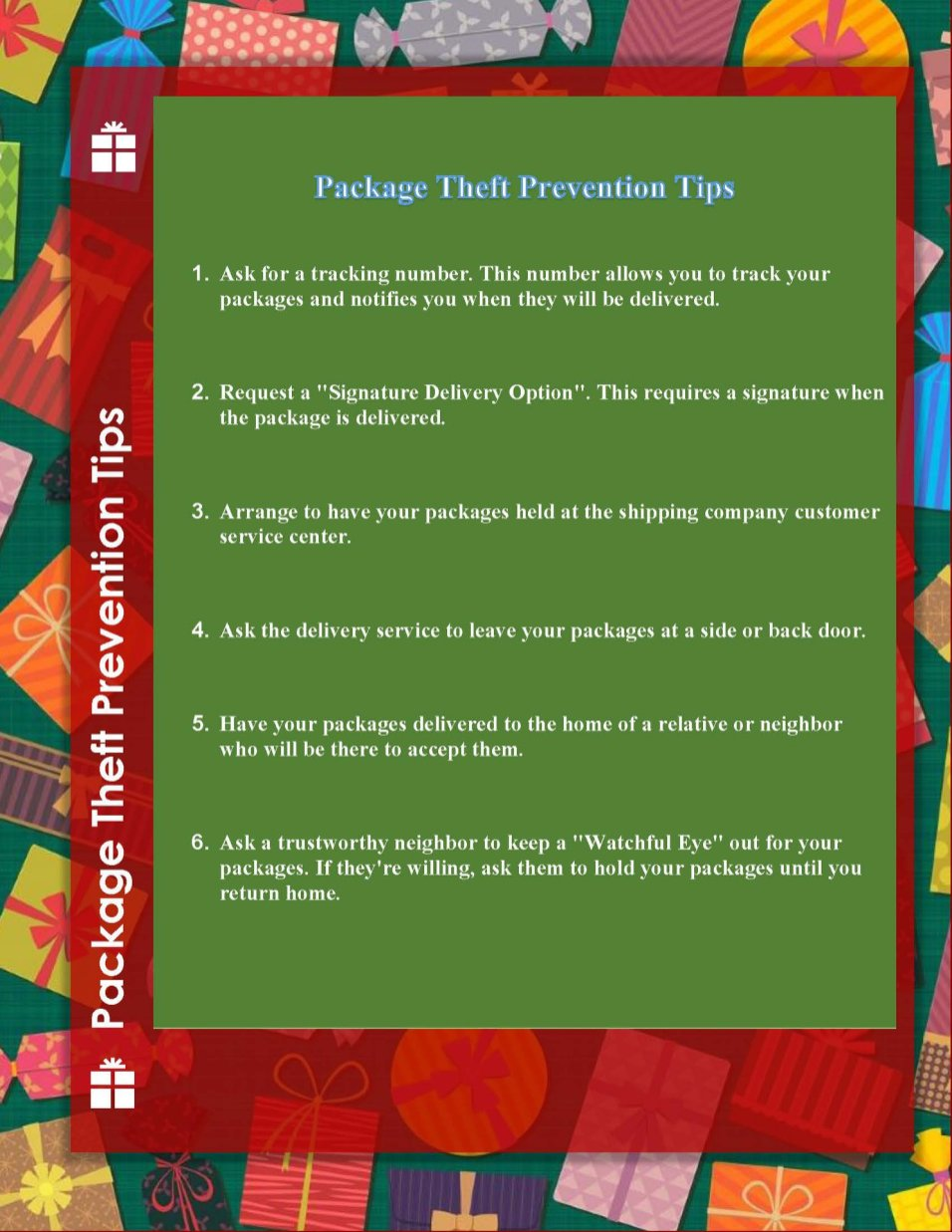 Barrington Police Department Package Theft Prevention Tips