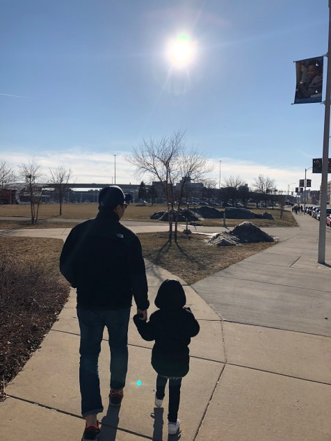 Tee on a walk with his daughter