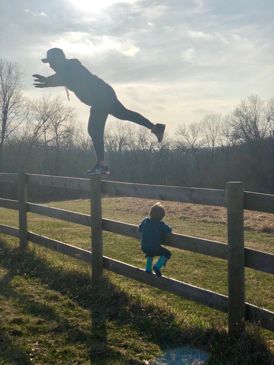 Tee having fun with his son at their grandparents' farm