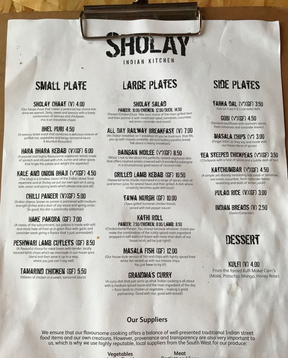 Sholay Indian Kitchen Menu