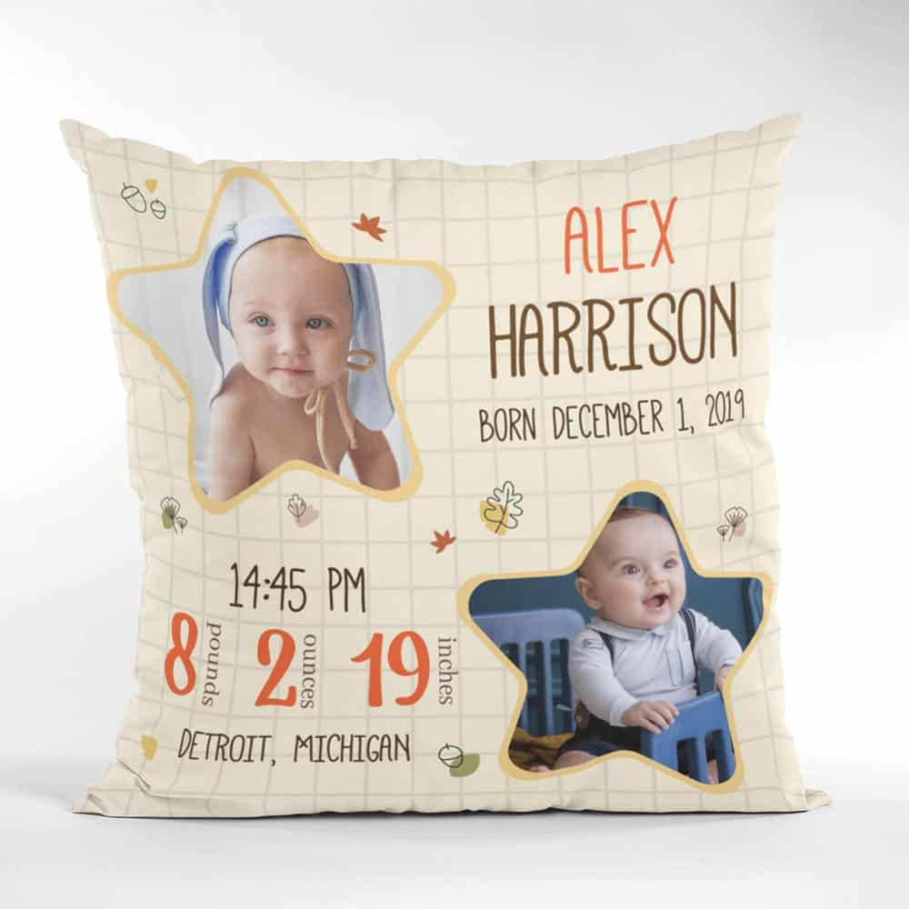 baby birth stats personalized photo suede pillow 365canvas